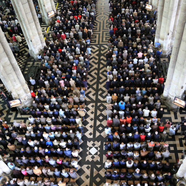 """Believers Assembly. Episcopal ordination. Amiens Cathedral."" stock image"