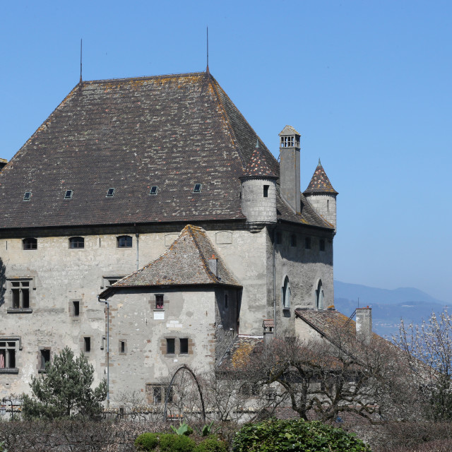 """""""Yvoire, Geneva Lake, the Castle of the 14th century."""" stock image"""