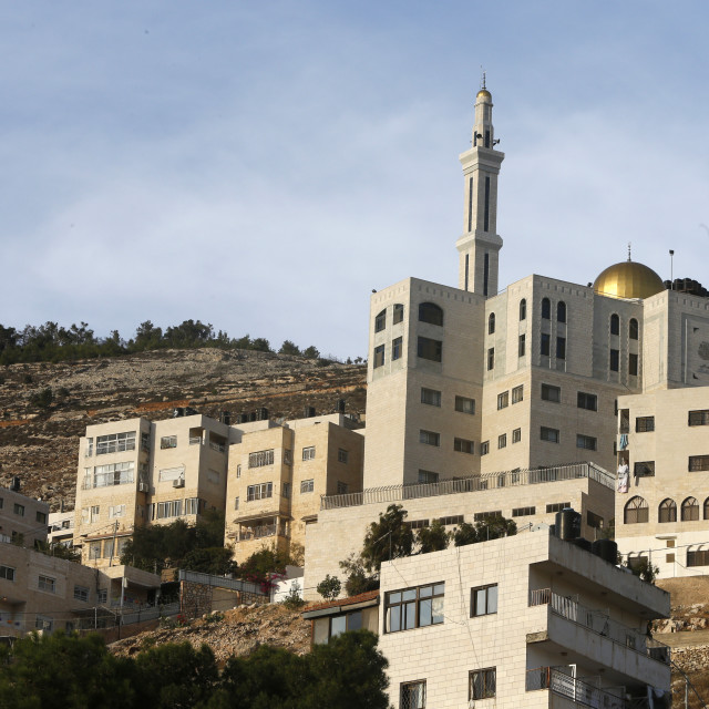 """""""Buildings and mosque in Nablus city, West Bank."""" stock image"""