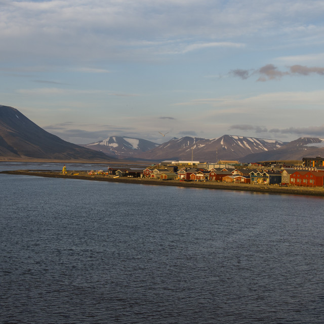 """Longyearbyen at sunset, Spitsbergen, Svalbard, Arctic, Norway, Scandinavia,..."" stock image"
