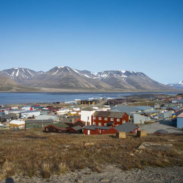 """View over the capital of Spitzbergen Longyearbyen, Svalbard, Arctic, Norway,..."" stock image"
