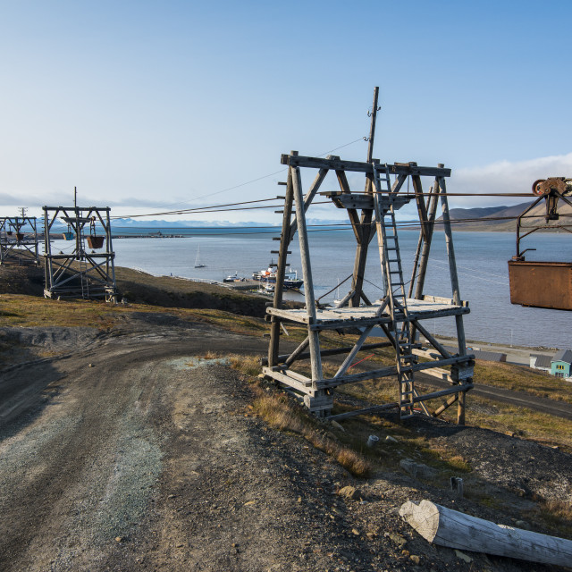 """Old coal trolleys in Longyearbyen, Spitsbergen, Svalbard, Arctic, Norway,..."" stock image"