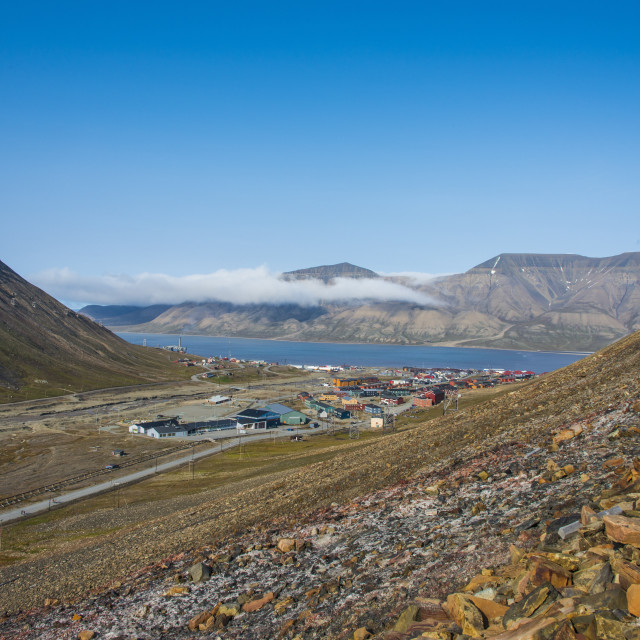 """View over Longyearbyen, capital of Spitzbergen, Svalbard, Arctic, Norway,..."" stock image"