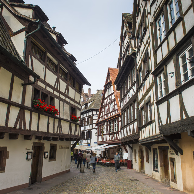 """Timbered houses in the quarter of La Petite France, UNESCO World Heritage..."" stock image"