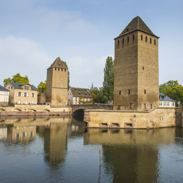 """""""Ponts Couverts, UNESCO World Heritage Site, Ill River, Strasbourg, Alsace,..."""" stock image"""