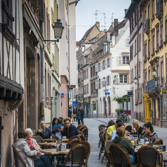 """Street cafes in Petite France, UNESCO World Heritage Site, Strasbourg,..."" stock image"