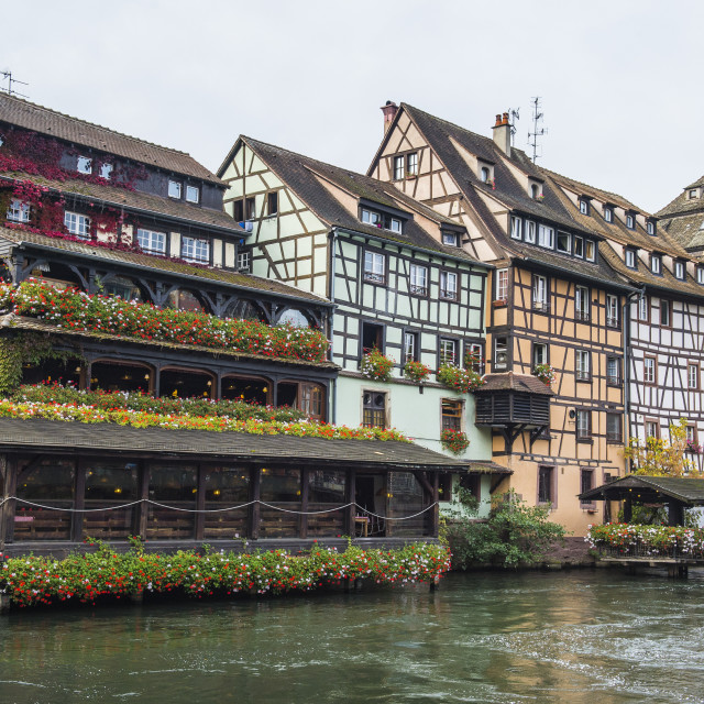 """Timbered houses and canal in the quarter Petite France, UNESCO World Heritage..."" stock image"