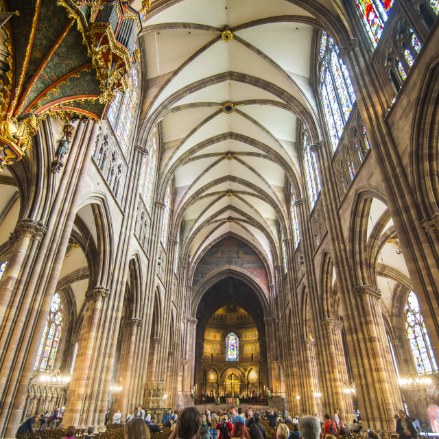 """Interior view, Strasbourg Cathedral, UNESCO World Heritage Site, Strasbourg,..."" stock image"