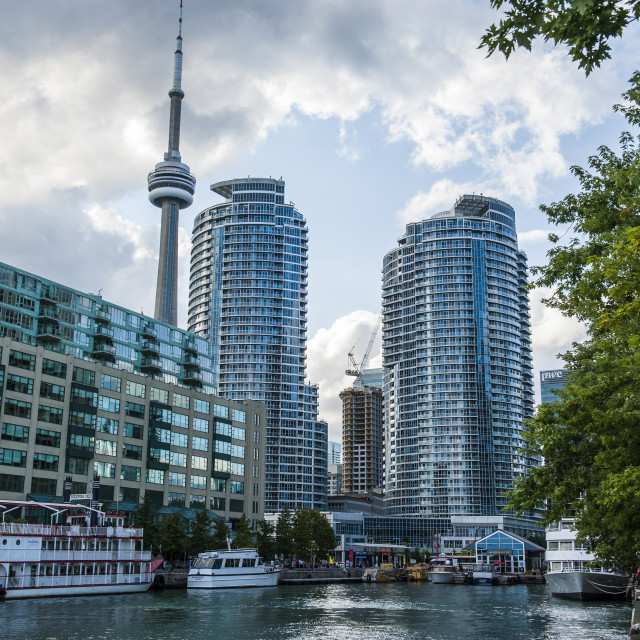"""""""The CN Tower behind high rise buildings in downtown Toronto, Ontario, Canada,..."""" stock image"""