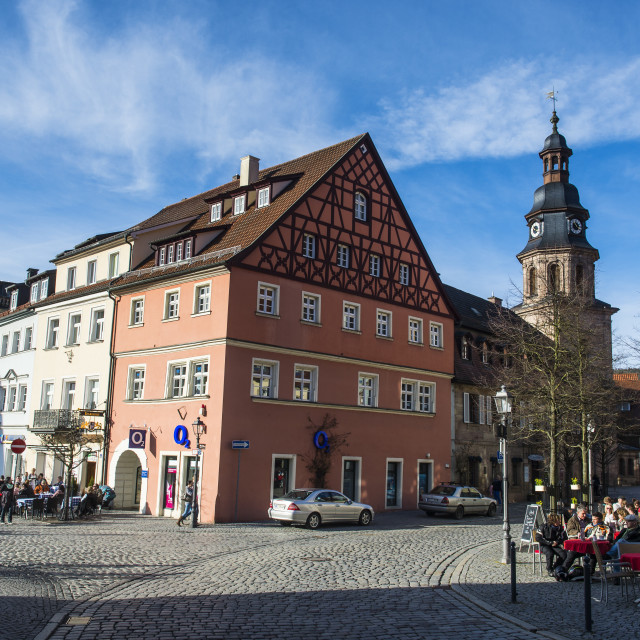 """Town square in the center of Kulmbach, Upper Franconia, Bavaria, Germany, Europe"" stock image"