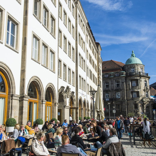 """Open air cafe in the center of Bayreuth, Upper Franconia, Bavaria, Germany,..."" stock image"