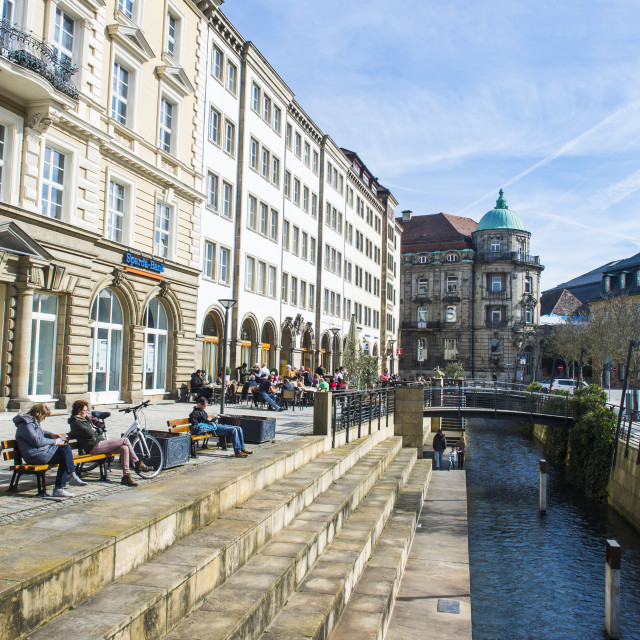 """Water channel in the center of Bayreuth, Upper Franconia, Bavaria, Germany,..."" stock image"