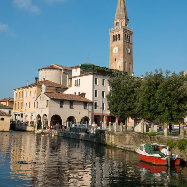 """""""The river port and the oratory of the Madonna della Pescheria, Portogruaro,..."""" stock image"""