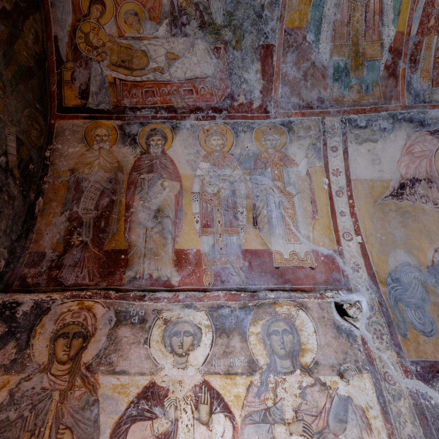 """The 17th century frescoes of the Monastery of Theoktistis, Ikaria, North..."" stock image"