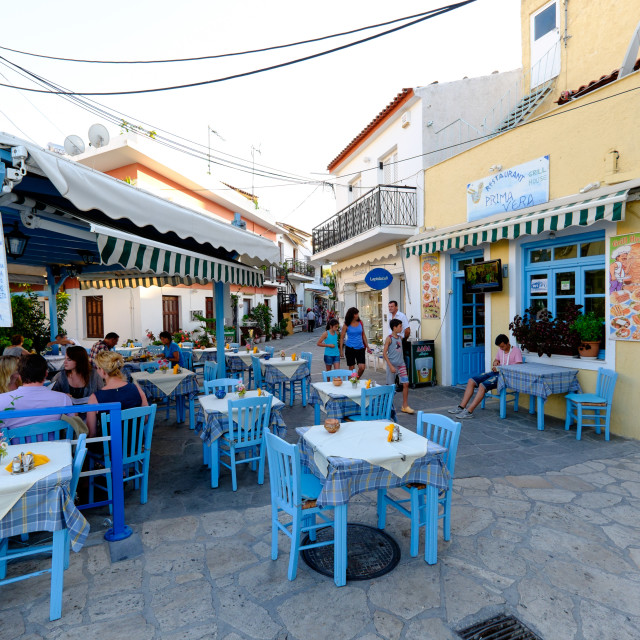 """Tavernas in Kokkari, Samos Island, North Aegean Islands, Greek Islands,..."" stock image"