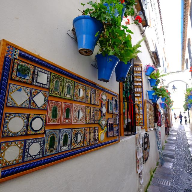 """Calle de las Flores, Cordoba, Andalucia, Spain, Europe"" stock image"