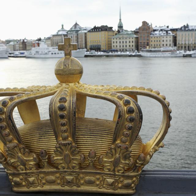 """""""A gilded Swedish crown on the Skeppsholm Bridge (Skeppsholmsbron) in..."""" stock image"""