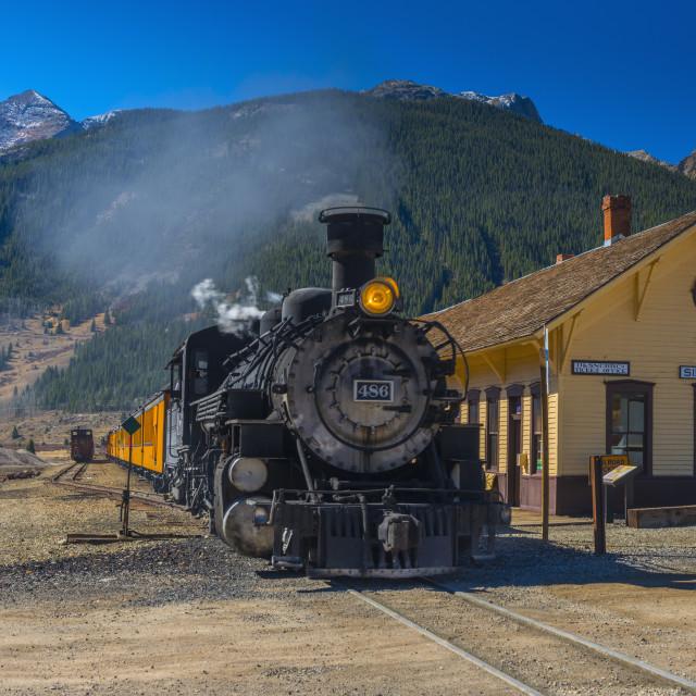"""Railway Station for Durango and Silverton Narrow Gauge Railroad, Silverton,..."" stock image"