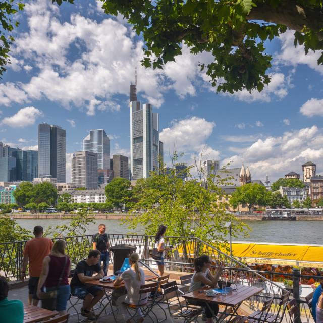 """Germany, Hessen, Frankfurt Am Main, City Skyline across River Main"" stock image"