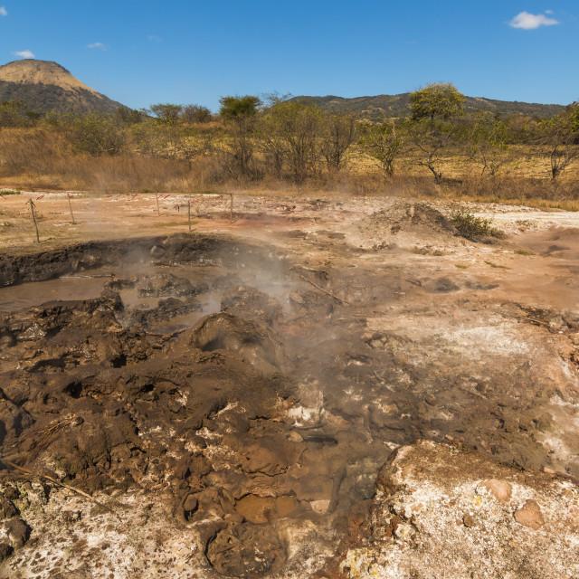 """""""Mud pots, fumaroles and dormant Volcan Santa Clara at the San Jacinto..."""" stock image"""