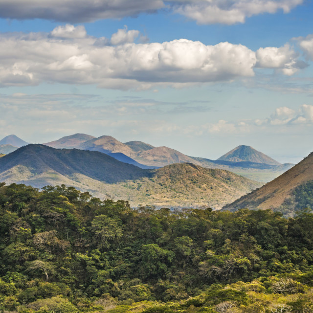 """""""The North West volcanic chain, distant on left Momotombo, centre Rota and Las..."""" stock image"""
