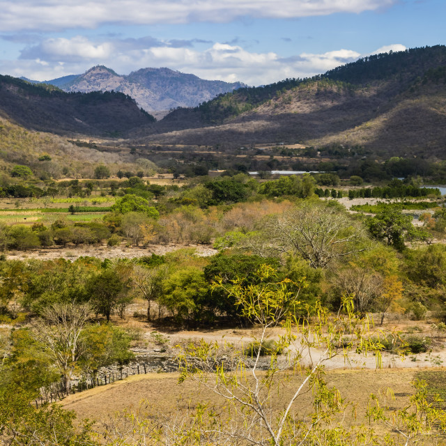 """""""View of the Guayabo Valley where the Coco River opens out below the famous..."""" stock image"""