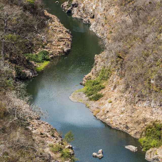 """""""Boat navigable part of the Coco River before it narrows into the Somoto..."""" stock image"""