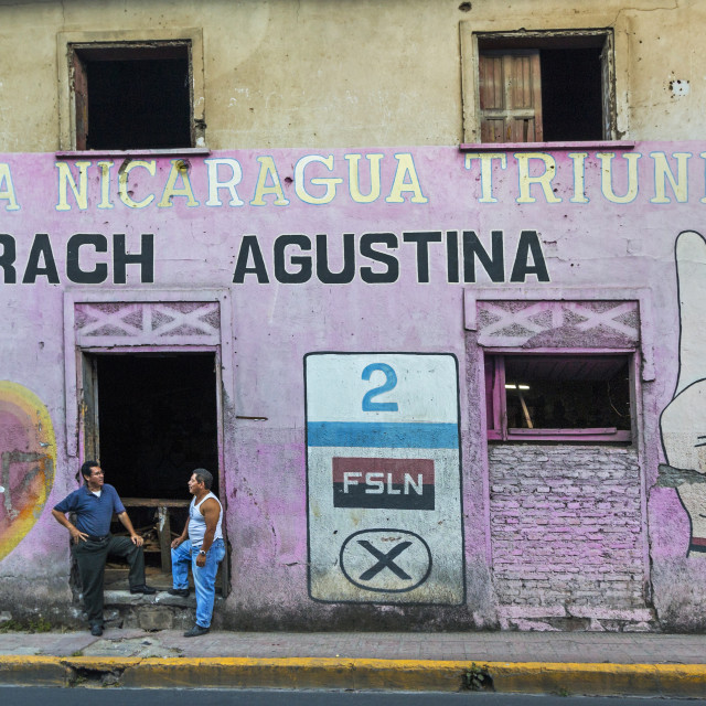"""""""FSLN (Sandinista) mural reflecting the revolutionary past of this important..."""" stock image"""