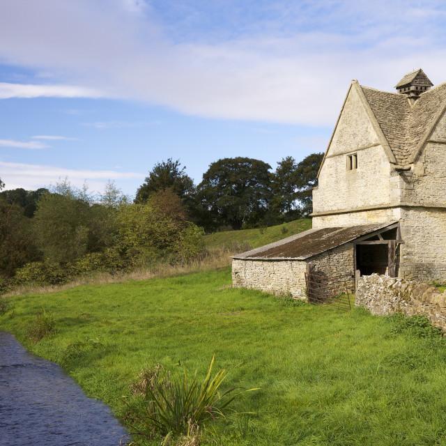 """A 16th century stone Dovecote, River WIndrush, Naunton, Cotswolds...."" stock image"