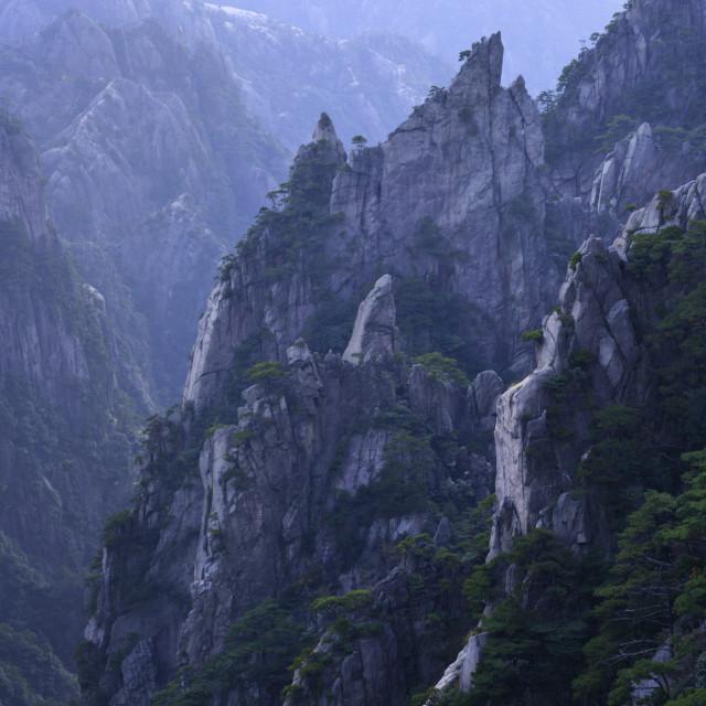 """Jagged granite peaks of Xihai Grand Canyon at Cloud Pavilion, Huangshan..."" stock image"