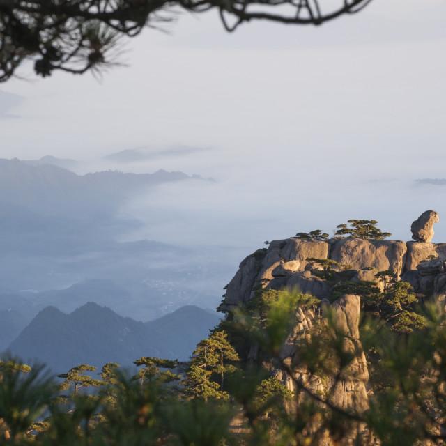 """Stone Monkey Watching Sea boulder on rocky ledge, North Sea vista, Huangshan..."" stock image"