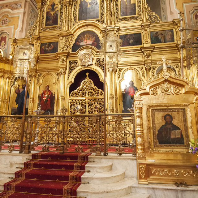 """Carpeted stairs leading to gold atlar of the Maria Magdalena Polish Orthodox..."" stock image"