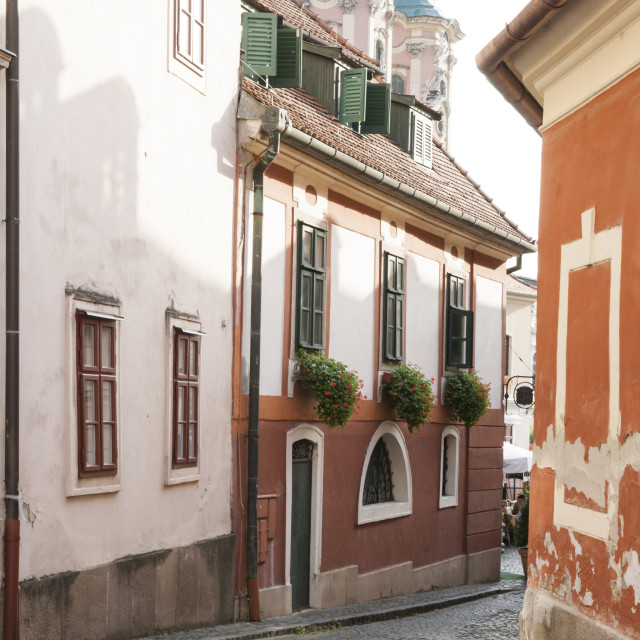 """""""Cobblestone street and narrow buildings with church towers in background,..."""" stock image"""
