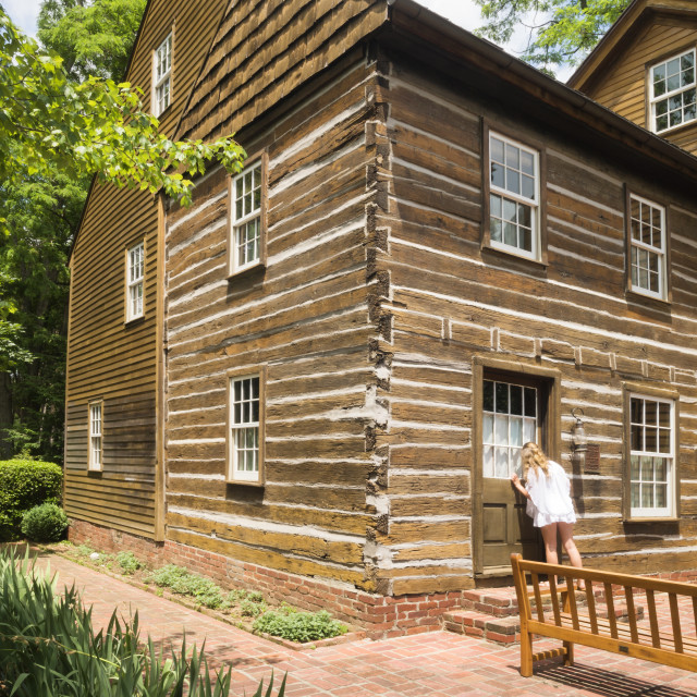 """One of the original log cabins the Harmonists built in their utopian society..."" stock image"