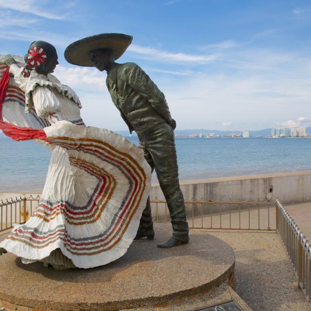 """Statues on Promenade, Downtown, Puerto Vallarta, Jalisco, Mexico, North America"" stock image"