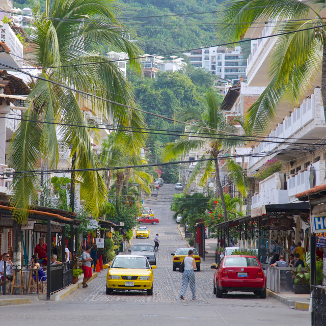 """""""Taxis and street scene, Downtown, Puerto Vallarta, Jalisco, Mexico, North..."""" stock image"""
