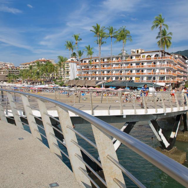 """Beach scene, Downtown, Puerto Vallarta, Jalisco, Mexico, North America"" stock image"