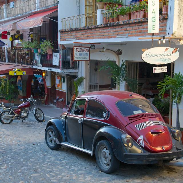 """View of Volkswagen Beetle, Downtown, Puerto Vallarta, Jalisco, Mexico, North..."" stock image"