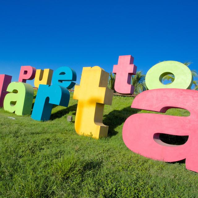 """""""Colourful sign on Tepic Puerto Vallarta, Puerto Vallarta, Jalisco, Mexico,..."""" stock image"""