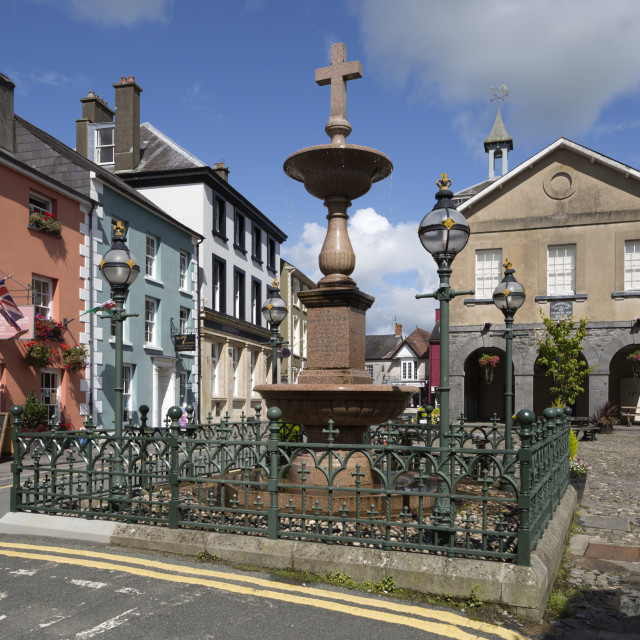 """Market Square, Llandovery, Carmarthenshire, Wales, United Kingdom, Europe"" stock image"