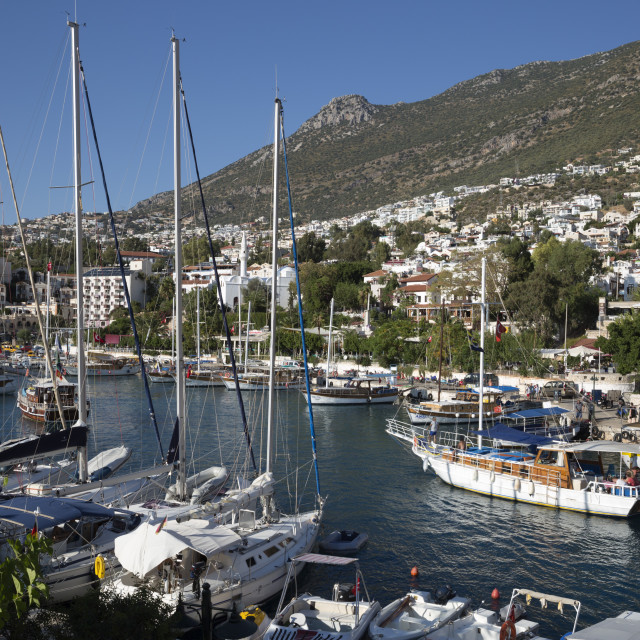 """Gulets in harbour, Kalkan, Lycia, Antalya Province, Mediterranean Coast,..."" stock image"