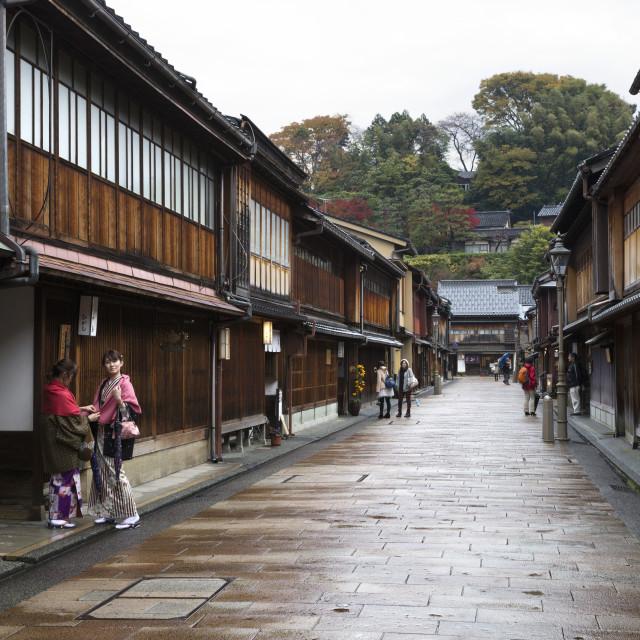 """Wooden houses, Higashi Chaya district (Geisha district), Kanazawa, Ishikawa..."" stock image"