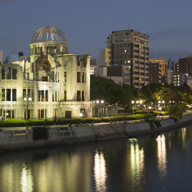 """Atomic Bomb Dome at night, UNESCO World Heritage Site, Hiroshima, Western..."" stock image"