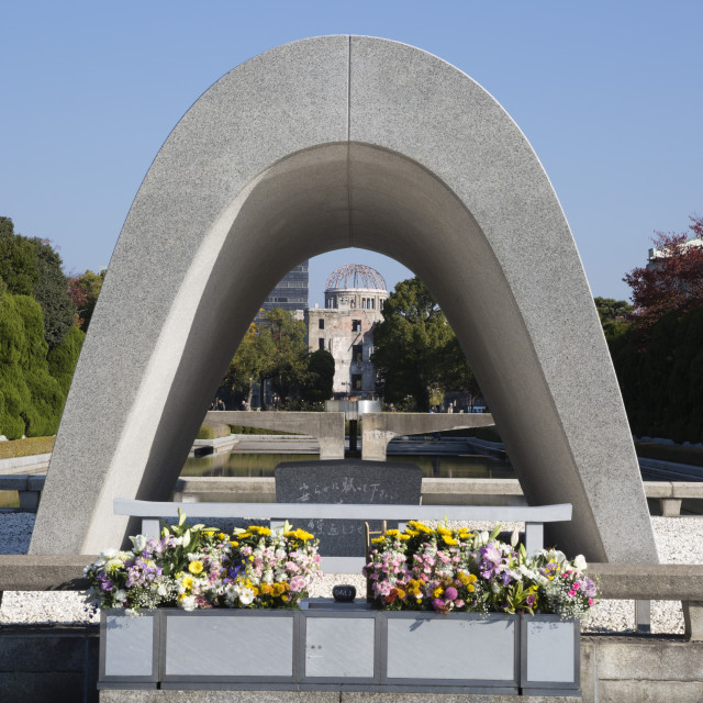 """Cenotaph for the A-Bomb Victims, Hiroshima Peace Memorial Park, Hiroshima,..."" stock image"