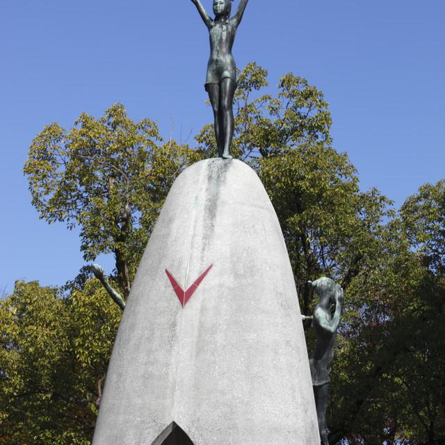 """Children's Peace Monument, Hiroshima Peace Memorial Park, Hiroshima, Western..."" stock image"
