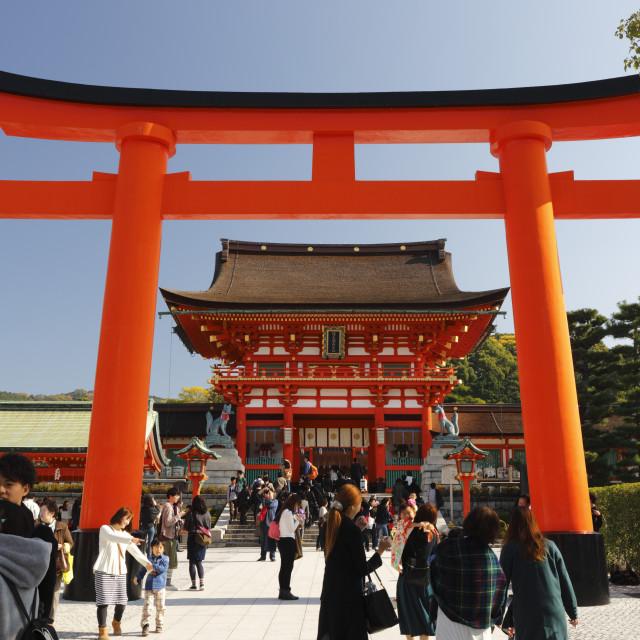 """Worship Hall and Torii gate, Fushimi Inari Taisha shrine, Kyoto, Japan, Asia"" stock image"