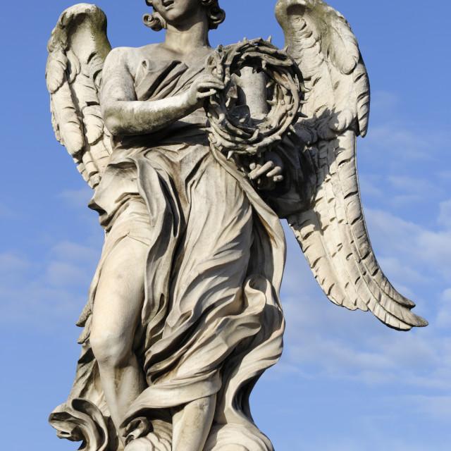 """Bernini's breezy maniac angels statue on the Ponte Sant'Angelo, Rome, Lazio,..."" stock image"