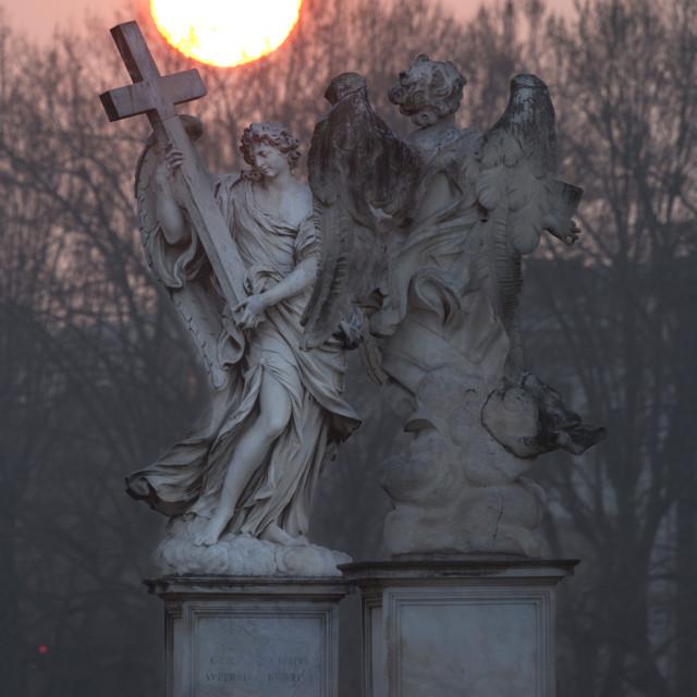 """Bernini's breezy maniac angels statues on the Ponte Sant'Angelo at sunrise,..."" stock image"