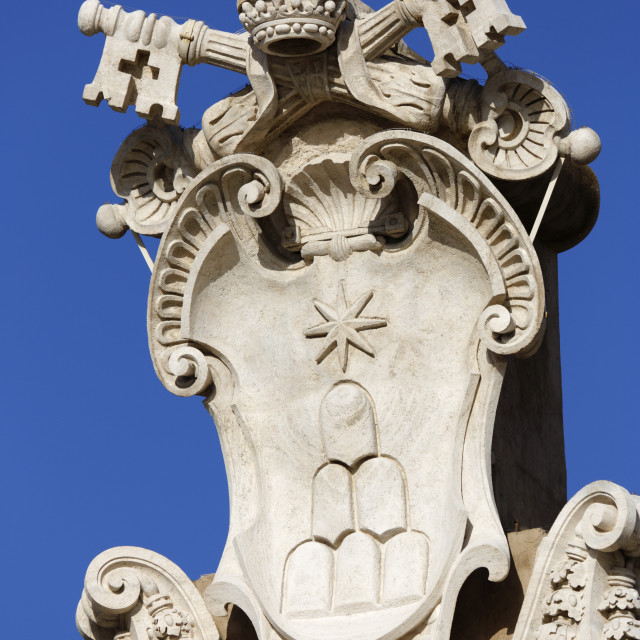 """The coats of arms of the Holy See and Vatican City State, St. Peter's Square..."" stock image"