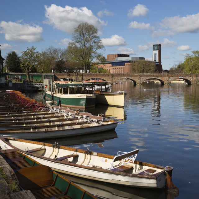 """""""Boats on the River Avon and the Royal Shakespeare Theatre,..."""" stock image"""